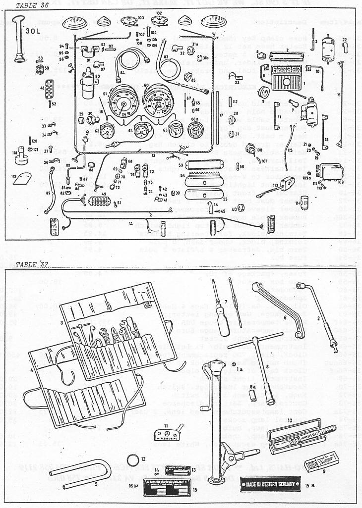 mercedes 190sl gauges  electrical equipment  instruments